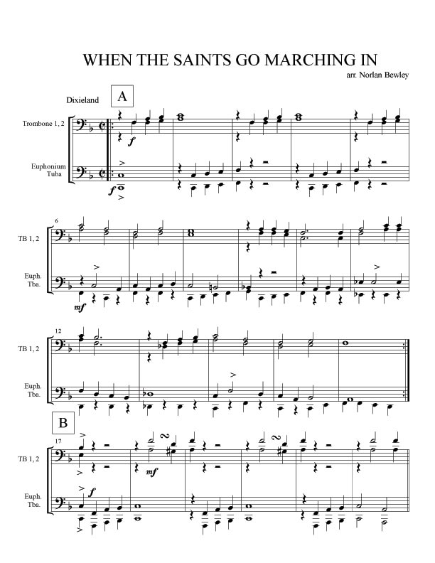 Sheet Music When the Saints Come Marching In | 1LB